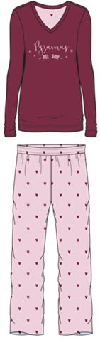 Damen Pyjama Set 587-00 brombeer