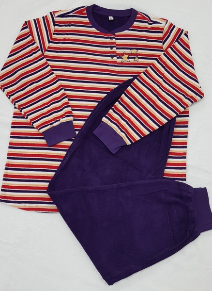 Damen Frottee Schlafanzug 75557 gestreift