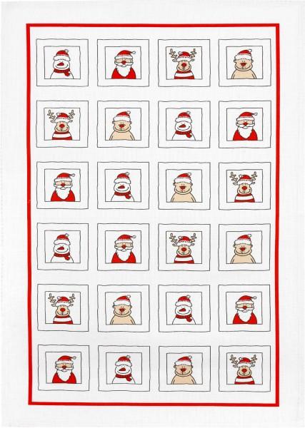 Küchentuch Baumwolle Motiv: Lustige Weihnachtsmänner