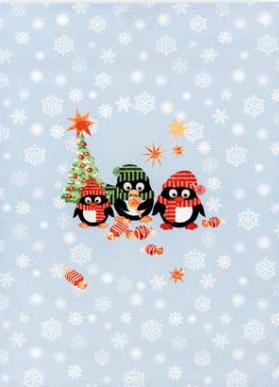 Geschirrtuch Halbleinen Weihnachtspinguine Größe: 50x70cm