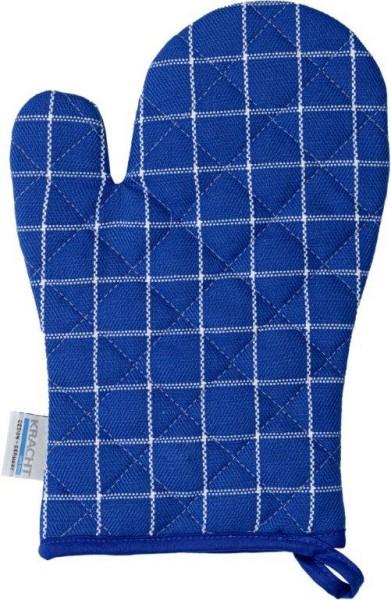 Grillhandschuh Baumwolle in blau-weiß 22x22cm