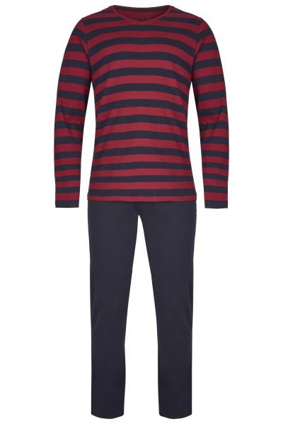 Herren Pyjama Set 546-00 rot/blau gestreift