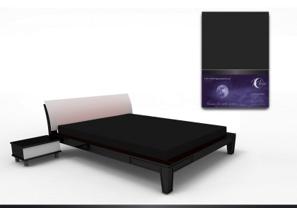 Spannbettlaken black line 200x220cm schwarz