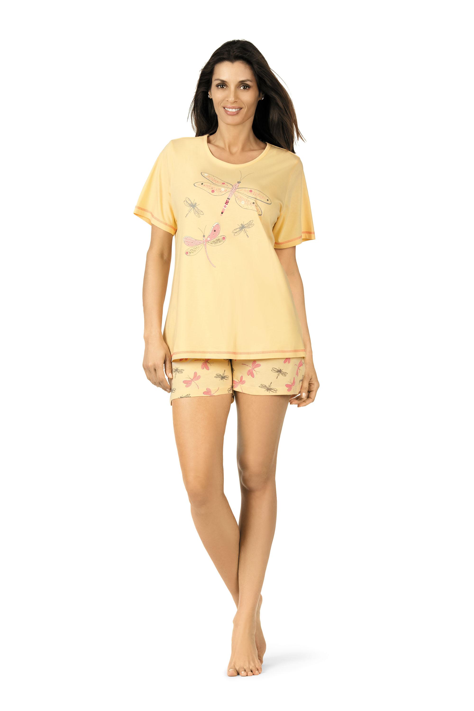 damen schlafanzug kurz 181319 gelb frottee welt. Black Bedroom Furniture Sets. Home Design Ideas