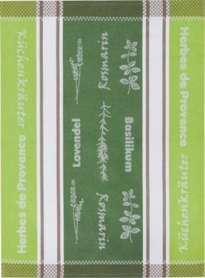 Geschirrtuch Baumwolle Motiv: Küchenkräuter, grün/grün