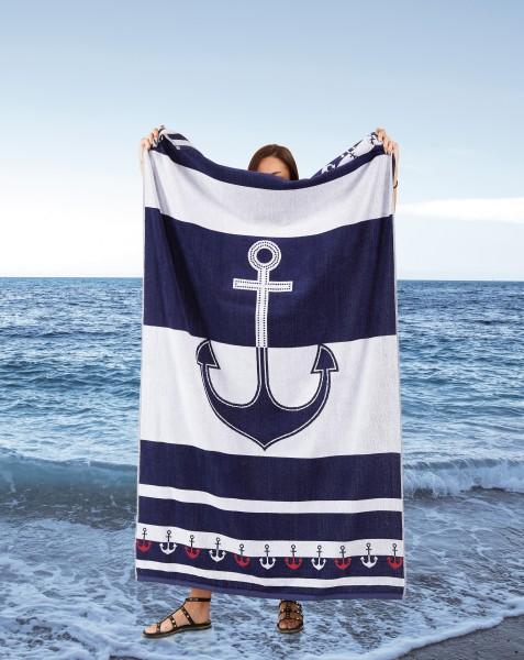 Strandtuch Yachting - Anker blau/weiß 100x175cm